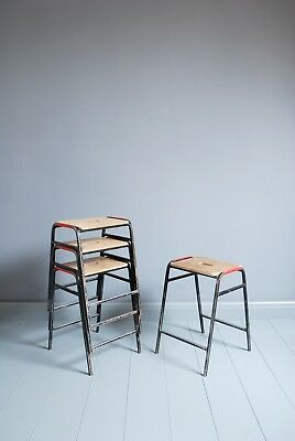 Vintage Remploy Stacking School Lab Stools - Cafe Bar Restaurant - 10 Available