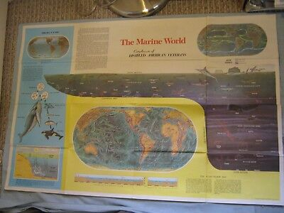 "Vintage Large Hammond The Marine World Map + Man In The Sea 25"" X 38"""