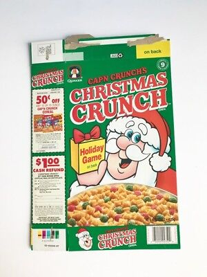 Cap'n Crunch Christmas Crunch Quaker Cereal Box 1990 1990's Holiday Game offer