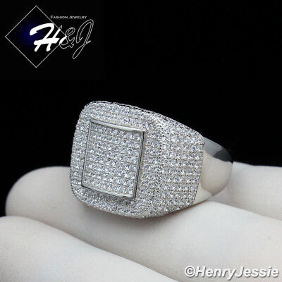 Men 925 Sterling Silver Lab Diamond Iced Out Bling Ring*sr91