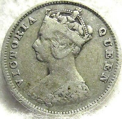 1901 Hong Kong Silver 10 Cents ~ Scarce in VF Condition, NO RESERVE