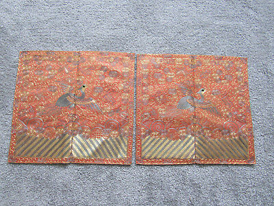 Two rare and unusual old Chinese embroidered silk orange ground rank badges