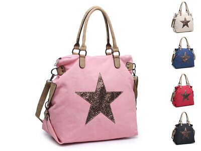 Woman Lady Canvas Large Shoulder Handbag Shopper Weekender Shining Star bag