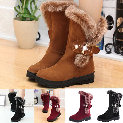 Fashion Women Boots Slip-On Soft Snow Boots Round Toe Flat Winter Fur Ankle Boot