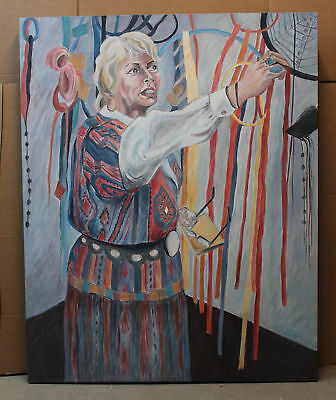 Lrg Authentic FRANCES JACOBSON Oil Portrait Painting Woman and Dream Catchers NR