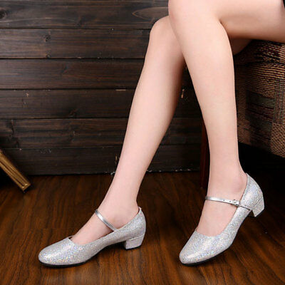 Low Heeled Glitter Modern Dance Shoes Kids Women Ballroom Latin Tango Salsa Shoe