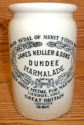 Dundee Marmalade Jar Early James Keiller Sons Decorated Crock Stoneware