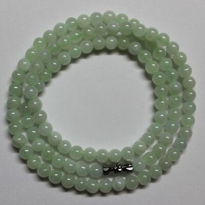 CERTIFIED Natural (Grade A) Untreated Icy Light Green Jadeite JADE Necklace #223