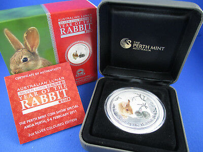 2011 Year of the RABBIT 2oz Silver Coloured Coin. ANDA Show. NUMBERED 71