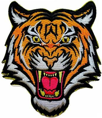 4 INCH BENGAL ANGRY TIGER iron-on embroidered PATCH