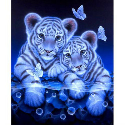 Tigers and Butterfly Mosaic Painting 5D Full Square Diamond Embroidery Stitch