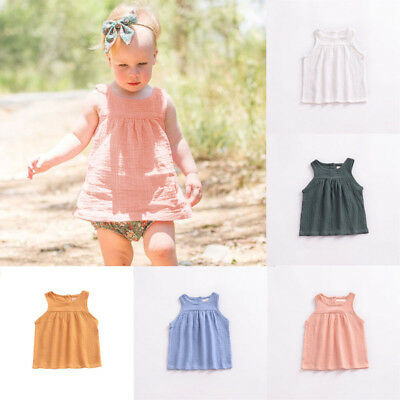Summer Toddler Kids Baby Girl Dress Sleeveless Party Tops Casual T-Shirt Clothes