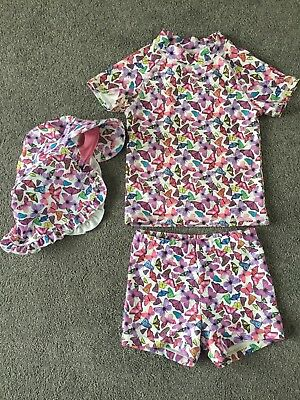 Stunning Next Butterfly Print UV Swim Suit & Matching Hat Age 1.5-2 Year - BNWOT