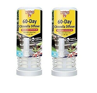 2 x Zero In 60-Day Insect & Best Fly Killer Insect Repellent Covers 40 Cu Mtrs