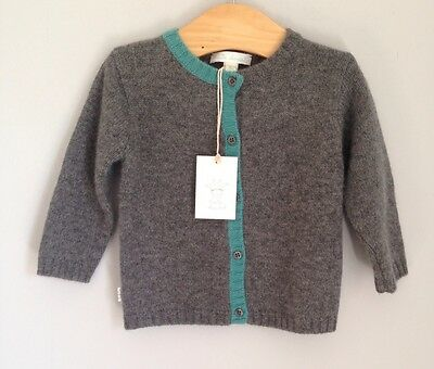 Marie Chantal Design 100% Cashmere Cardigan Baby Size 6-9 Months BNWT Grey Heart
