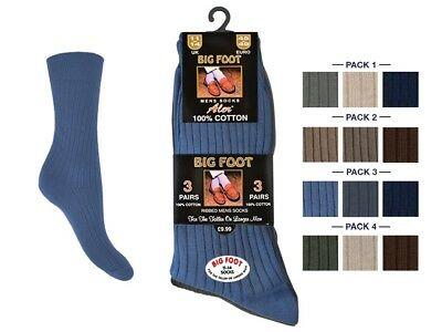 ALER 3 Pairs Mens  Big Foot RIBBED Cotton Socks Size UK 11-14 LIGHT ASSORTED