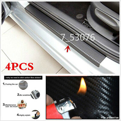 Car Accessories Door Sill Scuff Welcome Pedal Protect Carbon Fiber Stickers 4pcs