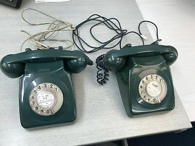 Two Vintage Rotary Telephones - Green GEC