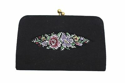 Vintage Change Purse Floral Petit Point Needlepoint Made in Germany 1950s Black