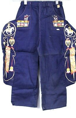 VTG Children's Jeans Pants 1940s Dead Stock Western Graphics XS10 CowBoys Indian