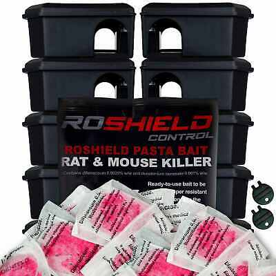 Roshield 10 x Mouse Safety Control Boxes & 30 x Pasta Mice Poison Killer Sachets