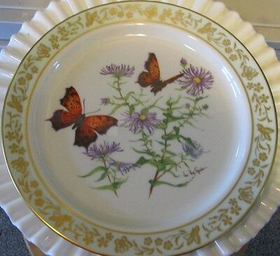 Lenox Collectors Plate Butterflies & Flowers Question Mark and New England Aster