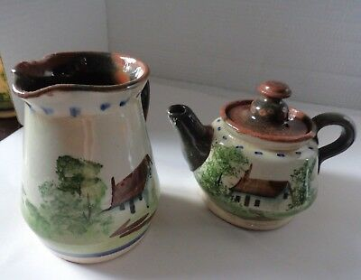 vintage Torquay motto ware style teapot & jug seconds incomplete? props