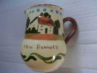 Royal Watcombe pottery motto ware jug 'Fresh from the farm New Romney' cottage