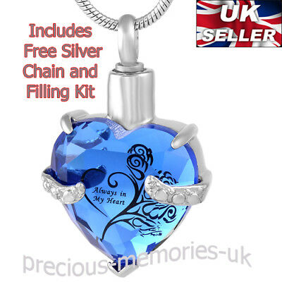 Blue Cremation Ashes Jewellery - Funeral Memorial Necklace Keepsake Urn Pendant