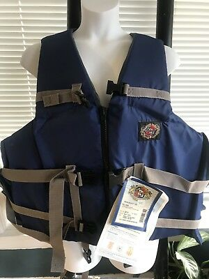 NEW~Stearns Fishing Vest Jacket~4X-7X~Preserver~Blue~Clip Close~NWT