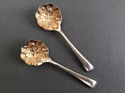 """Pair of Antique 6"""" Silver Plated / Gold Wash Berry Spoons / Georgian Style"""