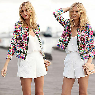 Women Floral Long Sleeve Slim Casual Winter Blazer Suit Jacket Coat Outwear Tops