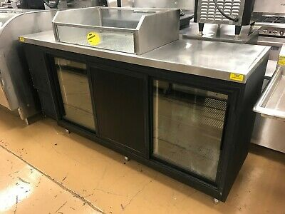 "84"" Back Bar Cooler w/ Sliding Doors and Ice Well Top - Glastender"