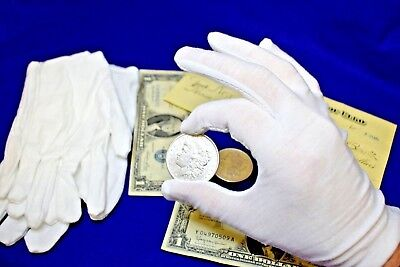 2 PAIRS OF WHITE COIN GLOVES(4 GLOVES TOTAL) !!!Handle your coins with care!!!