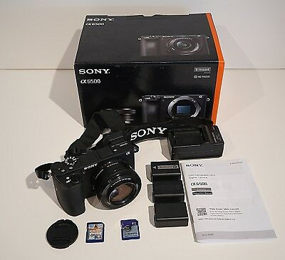 Sony a6500 with 16-50mm lens - 3 Batteries and two 32GB SD cards