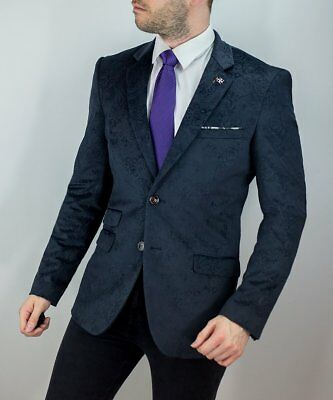 Mens Cavani Blazer Waistcoat Slim Fit Paisley Pattern Velvet Smart Dinner Jacket