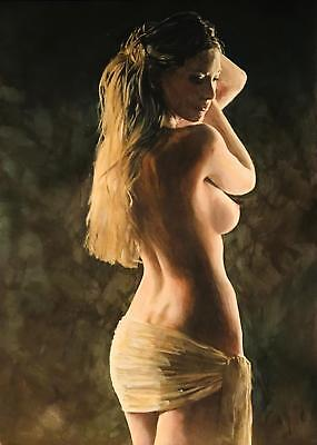 """SUPERB NEW WILLIAM OXER ORIGINAL """"Fondness"""" female nude woman girl PAINTING"""