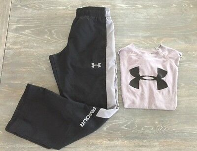 Under Armour Youth Medium YM Boys Black Lightweight Sweatpants Tee Shirt Outfit