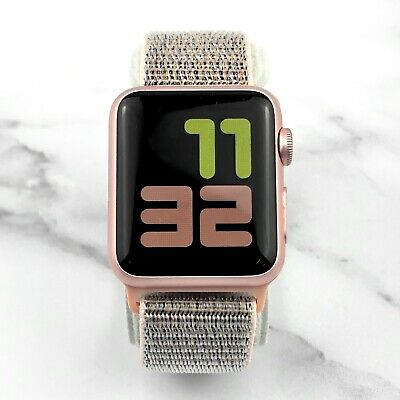 Apple Watch Series 1 38mm Rose Gold Aluminum Case Pink Sand Nylon Loop