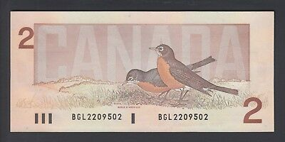 1986 $2 Dollars UNC - Thiessen Crow - Prefix BGL - Bank of Canada - D951