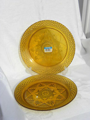 2 Vint Arcoroc France Cristal d'Arques Antique Amber Pattern Star Dinner Plates