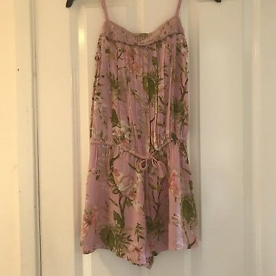 Next Girls Kids Crinkle Effect Floral Pink Playsuit Age 10 Summer Holiday