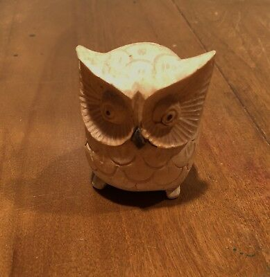 """wood owl sculpture hand carved 3"""" tall. Hand crafted wooden art. CUTE TRINKET"""