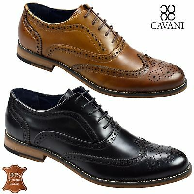 Mens Real Leather Italian Brogues Oxford Shoes Formal Wedding Casual Footwear