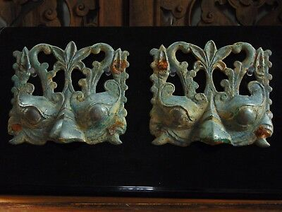 Rare Pair Of Antique Chinese Northern Wei Dynasty Archaic Bronze Door Appliques