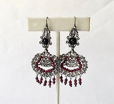 Beautiful mexican sterling filigree garnets frida chandelier beautiful mexican sterling filigree garnets frida chandelier earrings mozeypictures Images
