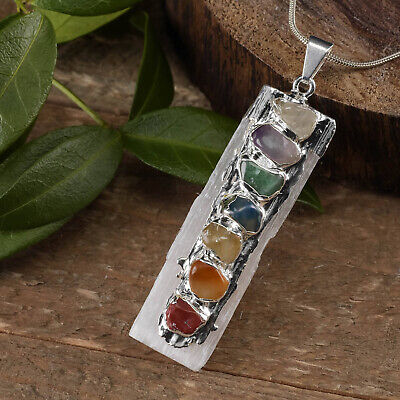 Selenite Chakra Crystal Pendant Natural CHARGED Sterling Silver Necklace HANDMAD