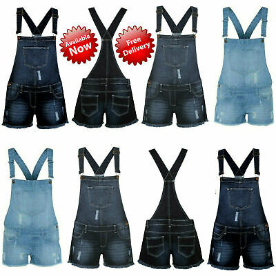 New Women's Ladies Frayed Denim Light Wash Shorts Dungaree Jumpsuit Play suit