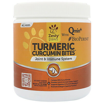 Zesty Paws  Turmeric  Curcumin Bites For Dogs  Joint   Immune Support  Duck