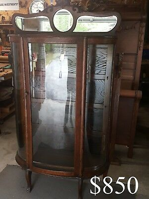 Antique Oak Curio China Cabinet Top Mirrored Gallery Will Deliver to GA, SC & NC